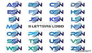 msn letters 3 letters modern generic swoosh logo asn bsn csn dsn esn fsn