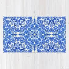 cobalt blue china white folk art pattern rug
