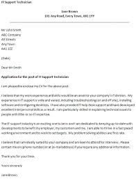 covering letter for an it support technician cover letter for it support