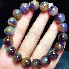 8.5mm <b>Genuine Natural Copper</b> Rutilated Quartz Crystal Bracelet ...