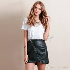 whole y women pu leather skirt front zipper split ol pencil skirts solid color con short mini skirt tight skirt black