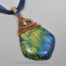 copper wire wrapped polymer clay faux labradorite necklace