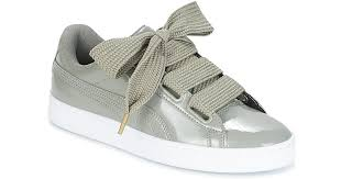 puma basket heart patent w s women s shoes trainers in grey in gray lyst