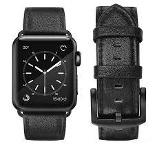 leech black premium leather apple watch strap