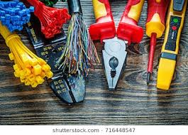 electrical wires images, stock photos & vectors (10% off) shutterstock electrical wiring diagram electrical tester wires tying cables bolt cutter pliers insulati