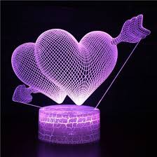 Double <b>hearts</b> 3D Illusion acrylic <b>led lamp</b>. This cnc files DXF, CDR ...