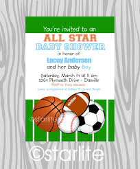 Sports Themed Baby Shower And Birthday Party Invitation Card Baby Shower Invitations Sports Theme