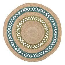 Jute Round Rug Stunning Turquoise Chenille 8x10 Braided