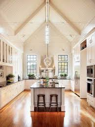 Vaulted Kitchen Ceiling Vaulted White Kitchen Ceiling Ideas With Track Lighting