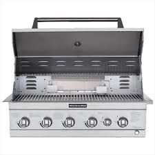 stainless steel kitchenaid propane grill detail