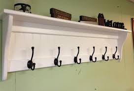 coat rack wood country wall shelf white