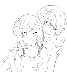 Anime Couple Coloring Pages Cute Timykids Page For Adults