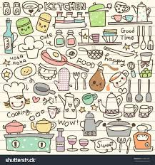 Cute Kitchen Set Cute Kitchen Utensils Doodle Stock Vector 214805596 Shutterstock