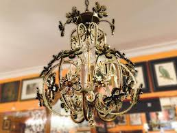 image of italian crystal chandelier with pale grey and clear crystals