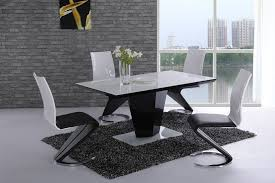 furniture mill outlet leona white gl top black high gloss dining table 160cm amazon co uk kitchen home