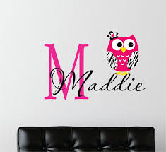 Owl Decor For Bedroom Childrens Decor Zebra Owl Wall Decal With Name Name Wall Decal