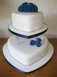 Blue Rose Two Tiered Heart Shaped Wedding Cake Wedding Cakes