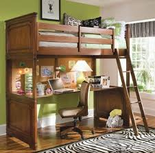 Bedroom: Classic Style Wooden Loft Bunk Bed With Desk Underneath And Also  Zebra Rug -