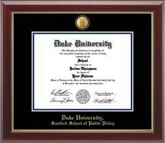 duke university collection of gifts duke sanford school of  duke sanford school of public policy 23k medallion edition diploma frame