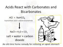 14 acids react with carbonates and bicarbonates hcl nahco3 hydrochloric acid sodium bicarbonate