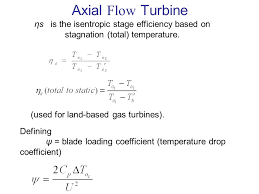 axial flow turbine ηs is the isentropic stage efficiency based on stagnation total temperature
