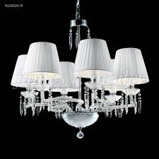 james r moder 96128s00 74 le cau 6 light crystal chandelier in silver with swarovski crystal clear and white silk string clip on shade