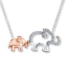 elephant necklace 1 10 ct tw diamonds sterling silver 10k gold