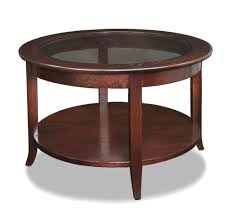 furniture leick varnished wood small round coffee table with glass top round wood coffee