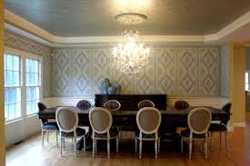ikat custom stencil wallpaper with metallic paint finish on ceiling