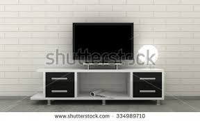 Empty LED TV on television shelf in classic interior background with white  brick wall and concrete
