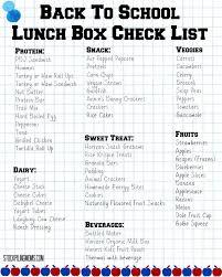 Checklist For School Back To School Lunch Box Check List