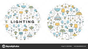 Beleuchtung Symbole Festgelegt Line Kunst Design