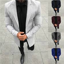 2018 winter mens casual thicken woolen trench coat business coats male solid color slim fit overcoat medium long