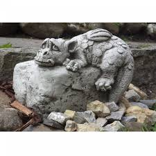 dragon on rock cast stone garden ornament ornaments by onefold