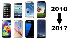 all samsung galaxy phones side by side. history of samsung galaxy s phones 2010-2017 all side by