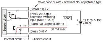 amplifier built in ultra compact laser sensor ex l200 i o circuit npn output type i o circuit diagrams