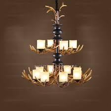 great two tiered 12 light fake deer antler chandelier