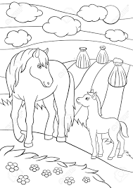 Coloring Pages Farm Animals Mother Horse With Her Little Cute