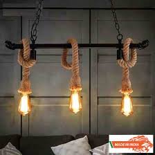 made in india filament bulb with rope hanging chandelier