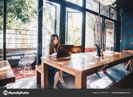 Internet Shop Interior Design Asian Business Women Use Laptop Computer Internet Search