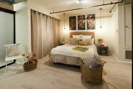 room divider curtains: modern bedroom with room divider curtain in beige