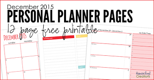 December Personal Planner Pages Free Printable