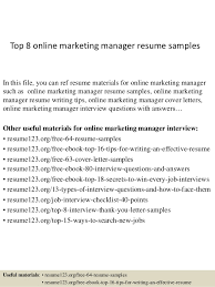 top 8 online marketing manager resume samples in this file you can ref resume materials online marketing resume sample