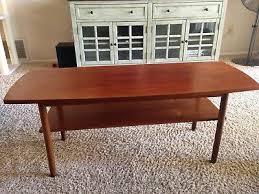 danish modern teak coffee table w shelf
