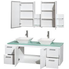 42 Inch Medicine Cabinet Amare 60 Inch Double Bathroom Vanity White Finish Green Glass Top