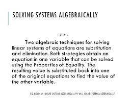 3 solving systems algebraically