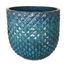 pinequilt blue ceramic pot