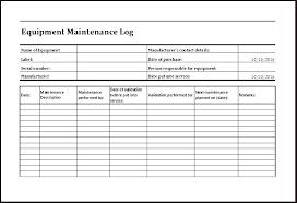Equipment Service Log Template Equipment Log Book Template
