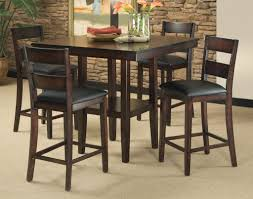 high kitchen table set. Wooden Counter Height Kitchen Table Sets With Black Leather Chair Cushion High Kitchen Table Set