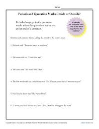 Does The Period Go Inside The Quotes Impressive Periods And Quotation Marks Inside Or Outside Punctuation Worksheets